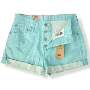 Levi's Mid-Rise Cuffed Mint Green 501 Shorts NWT